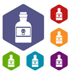 poison bottle icons set vector image vector image