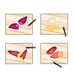 Potatoes and sweet potatoes on cutting board vector