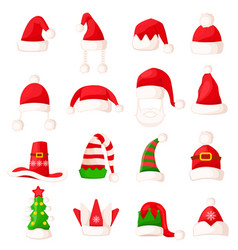 Santa claus hat set isolated big vector