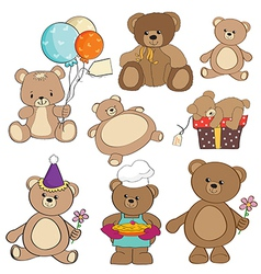 set of different teddy bears items for design in vector image vector image