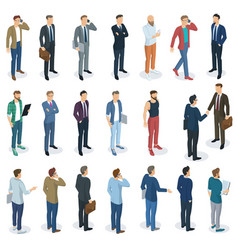 set of isometric standing men vector image vector image