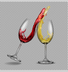 set transparent glasses with white and red vector image