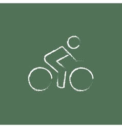 Sports bike and cyclist icon drawn in chalk vector