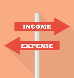 Street sign with words Income and Expense vector image