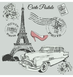 Vintage poster of Paris theme vector image