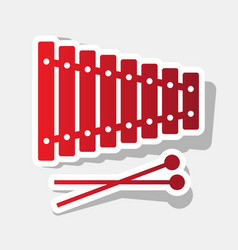 Xylophone sign new year reddish icon with vector