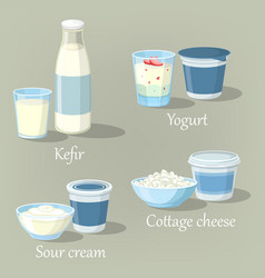 Yogurt and kefir cottage cheese with sour cream vector