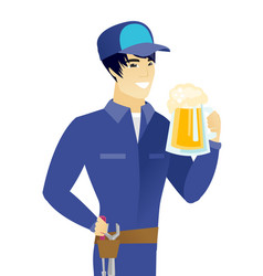 Young asian mechanic drinking beer vector