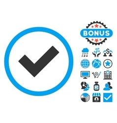 Accept flat icon with bonus vector