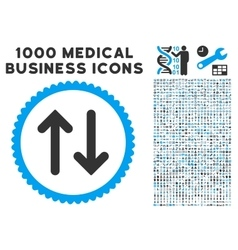 Flip icon with 1000 medical business symbols vector