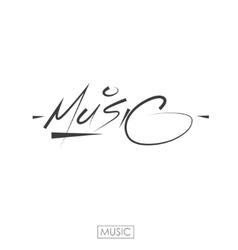 Music hand drawn letteringInk vector image