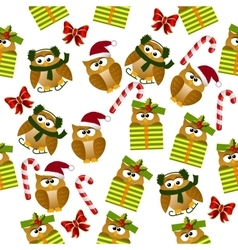 Christmas owl in santa hat vector