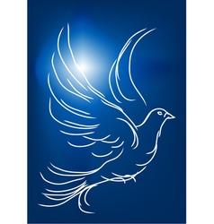 white dove in a blue sky vector image