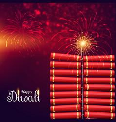 Bursting cracker bomb for happy diwali festival vector