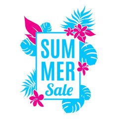 Summer sale background with leaves and flowers vector