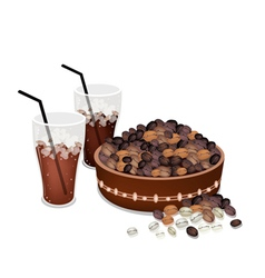 Coffee beans in a pail with iced coffee vector