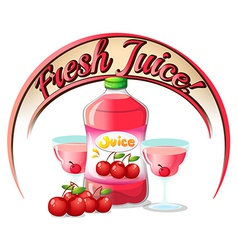 A fresh juice label with cherries vector