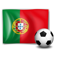 A soccer ball in front of the portugal flag vector