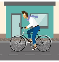 Handsome guy rides a bike vector