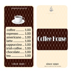 Menu for coffee shop vector