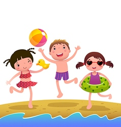 Children on the sunny beach vector