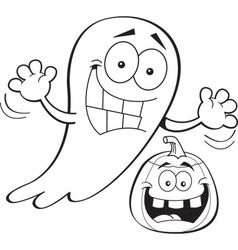Cartoon ghost with a jack o lantern vector