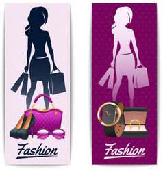 Women shopping vertical banners vector