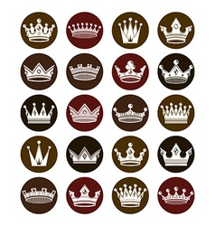 Set of 3d white royal crowns isolated majestic vector