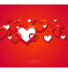 Bright red valentine banner vector