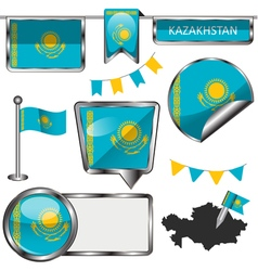 Glossy icons with kazakhstani flag vector