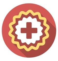 Medical cross stamp flat round icon with long vector