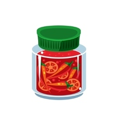 Hot sauce in transparent jar vector