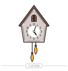 Cuckoo clock color flat icon isolated on a white vector
