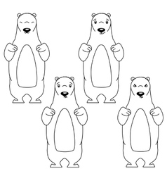 Polar bear with different facial expressions vector