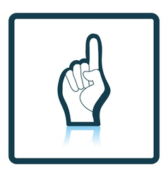 Fan foam hand with number one gesture icon vector