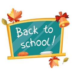 Back to school background with green chalkboard vector image