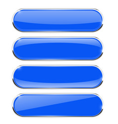 blue oval buttons with chrome frame vector image vector image