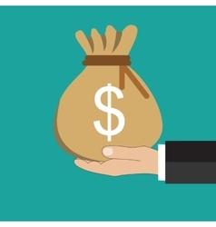Buisness man hand holding money bag vector
