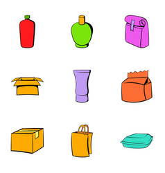 Cardboard icons set cartoon style vector