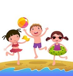 Children on the sunny beach vector