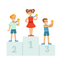 Children standing on the winner podium with medals vector