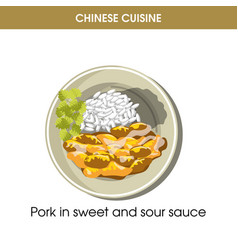 chinese cuisine pork meat traditional dish food vector image vector image