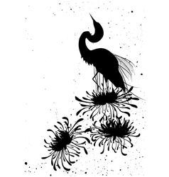 chrysanthemum and heron vector image vector image