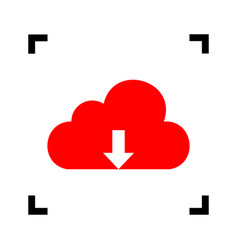 Cloud technology sign red icon inside vector