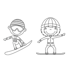 cute cheerful kids flying on a snowboard vector image vector image