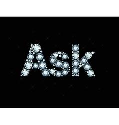 Diamond word ask vector image