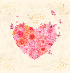 floral valentine from pink chrysanthemums with vector image