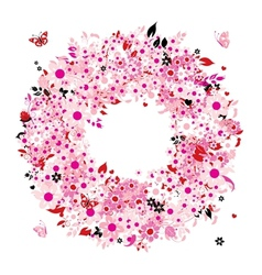 Floral wreath for your design vector image vector image