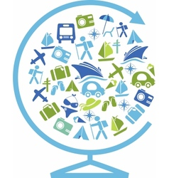 globe with traveling and transportation template vector image