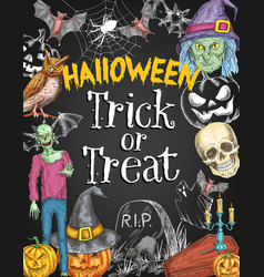 halloween holiday trick treat sketch poster vector image